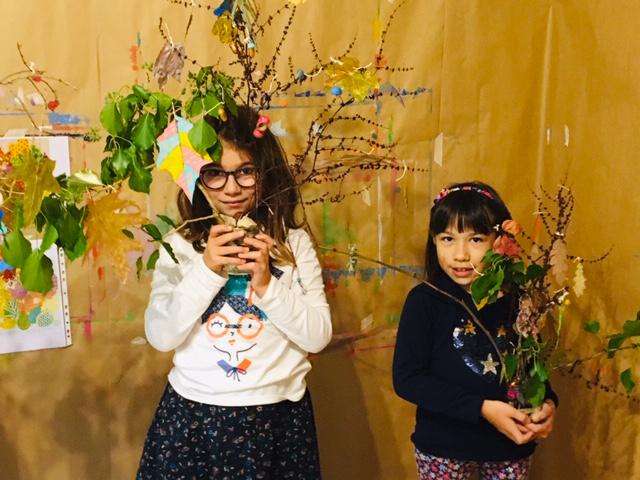 Stage sculpture automnale végétaux récup' enfant Tresses-Melac octobre 2019