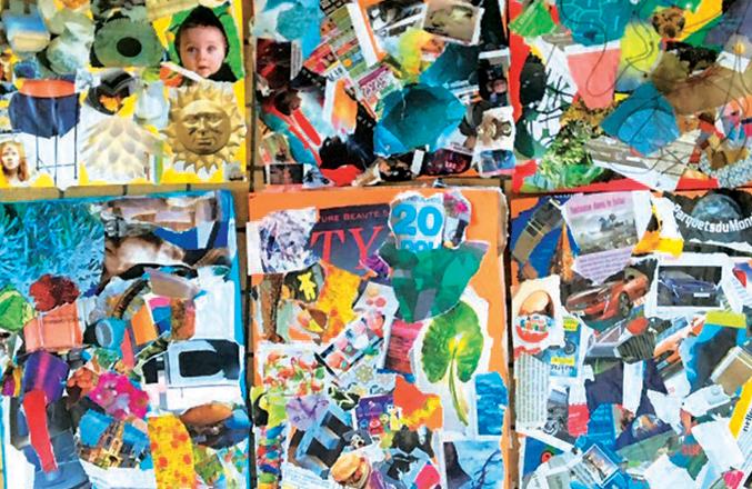 Collages en atelier créatif